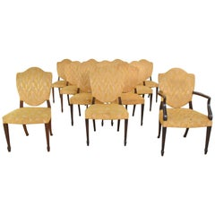 Georgian Revival Sheraton Federal Style Upholstered Shield Back Dining Chairs 12