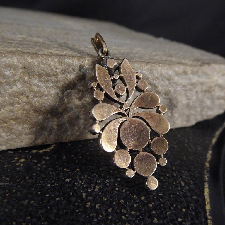 Georgian Rose Cut Diamond Closed Back Pendant in Gold and Silver In Good Condition For Sale In Yorkshire, West Yorkshire