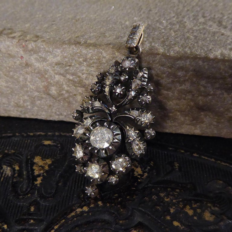 Georgian Rose Cut Diamond Closed Back Pendant in Gold and Silver For Sale 2