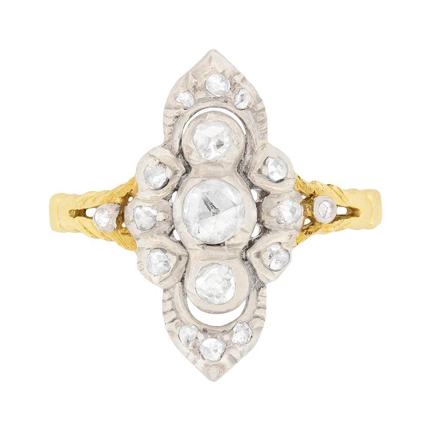 Georgian 0.35ct Rose Cut Diamond Cluster Ring, circa 1830s