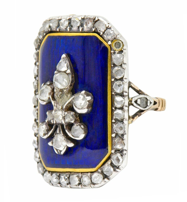 Georgian Rose Cut Diamond Enamel Silver-Topped 14 Karat Gold Fleur-De-Lis Ring For Sale 2