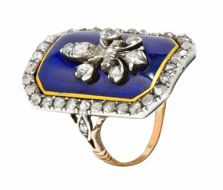Georgian Rose Cut Diamond Enamel Silver-Topped 14 Karat Gold Fleur-De-Lis Ring For Sale 4