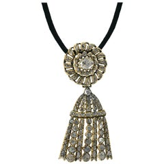Georgian Rose Cut Diamond Tassel Pin/Pendant Necklace