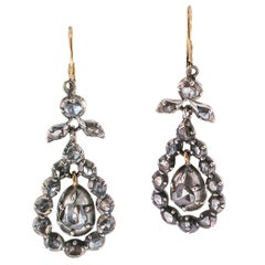 Georgian Rose Cut Diamonds Silver Gold Pendant Earrings