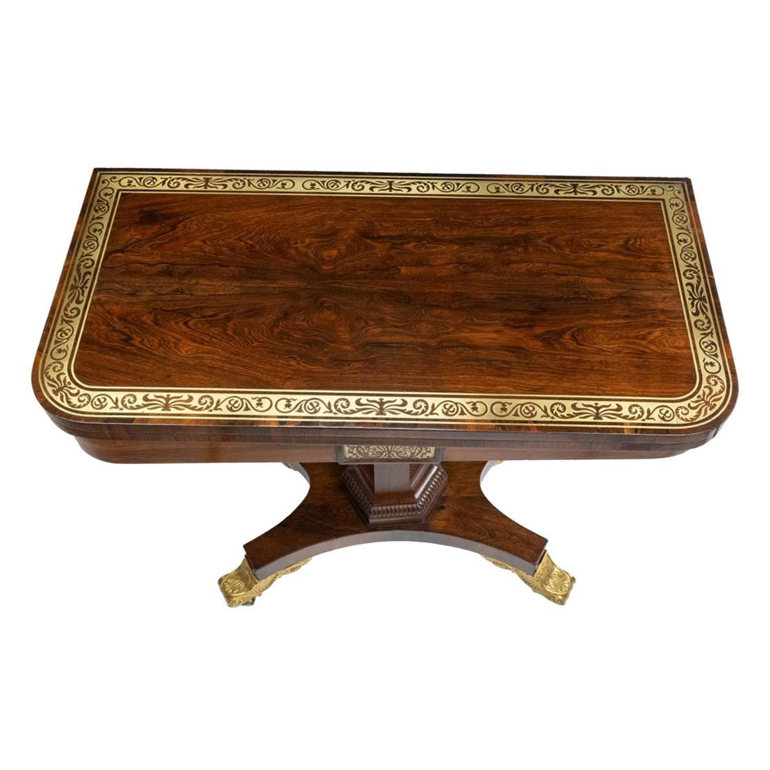 Georgian Rosewood Fold-Over Card Table Attributed to Gillows