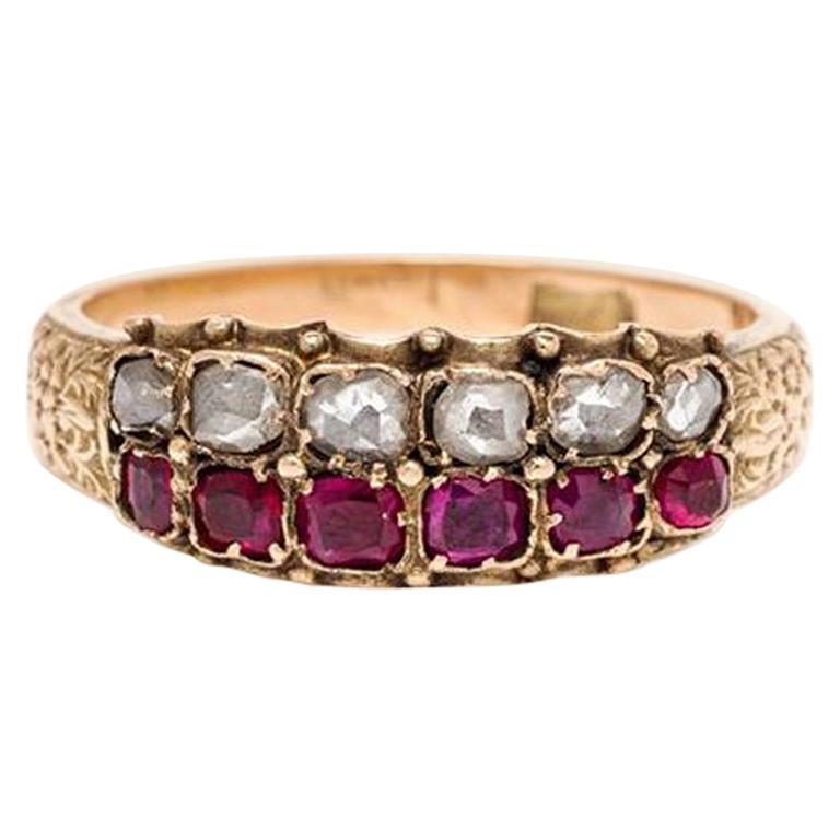 Georgian Ruby and Diamond Ring, Yellow Gold