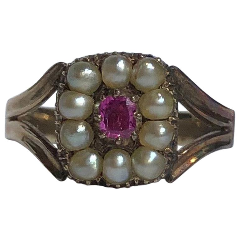 Georgian Ruby and Pearl 15 Carat Gold Cluster Ring