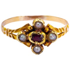 Georgian Ruby and Pearl 15 Carat Gold Ring