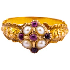 Georgian Ruby and Pearl 18 Carat Gold Ring