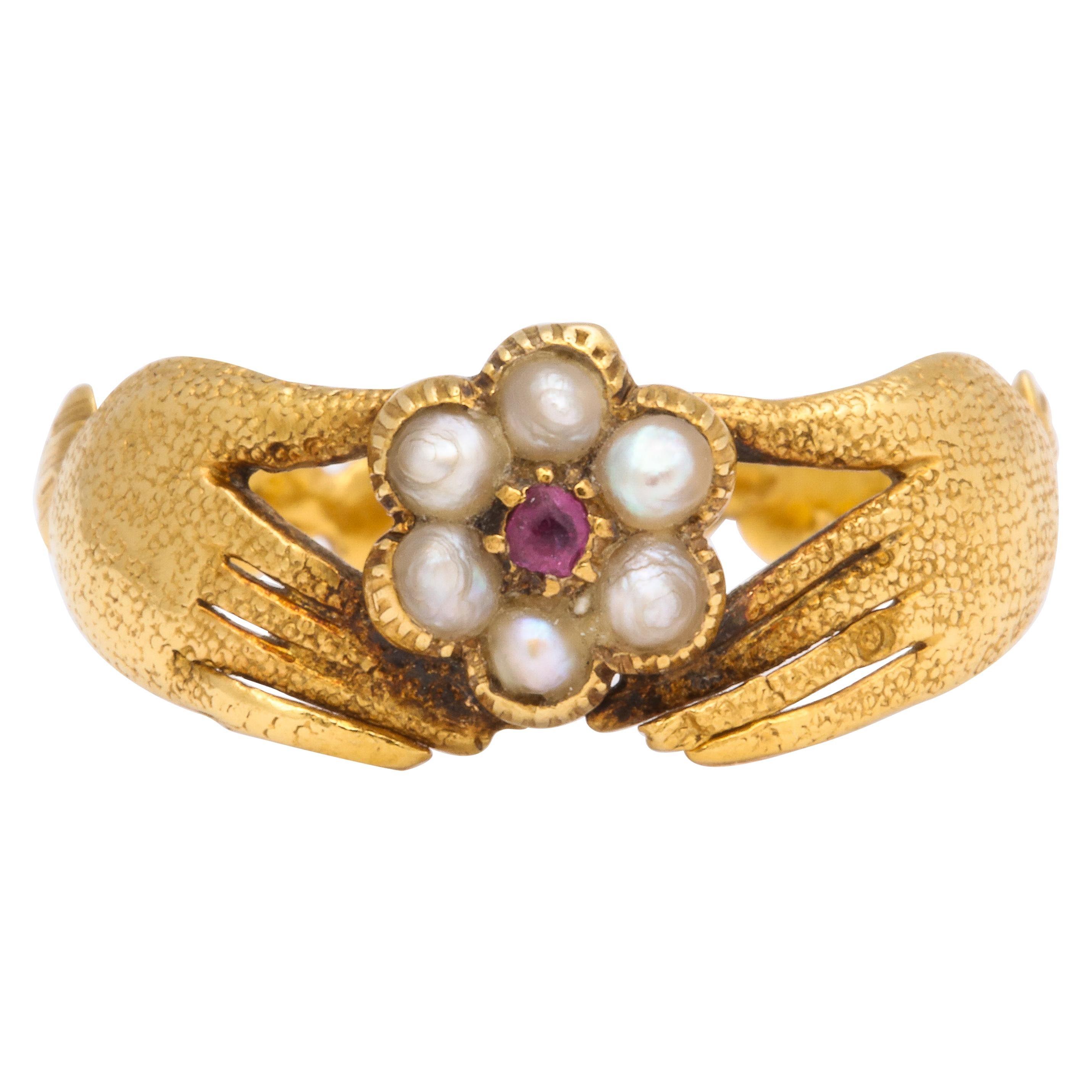 Georgian Ruby and Pearl Fede Ring