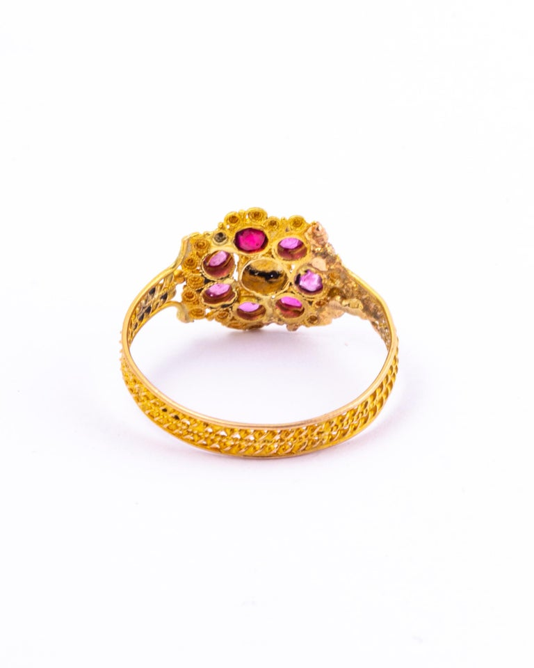 Georgian Ruby, Pearl and 15 Carat Gold Cluster Ring In Good Condition In Chipping Campden, GB