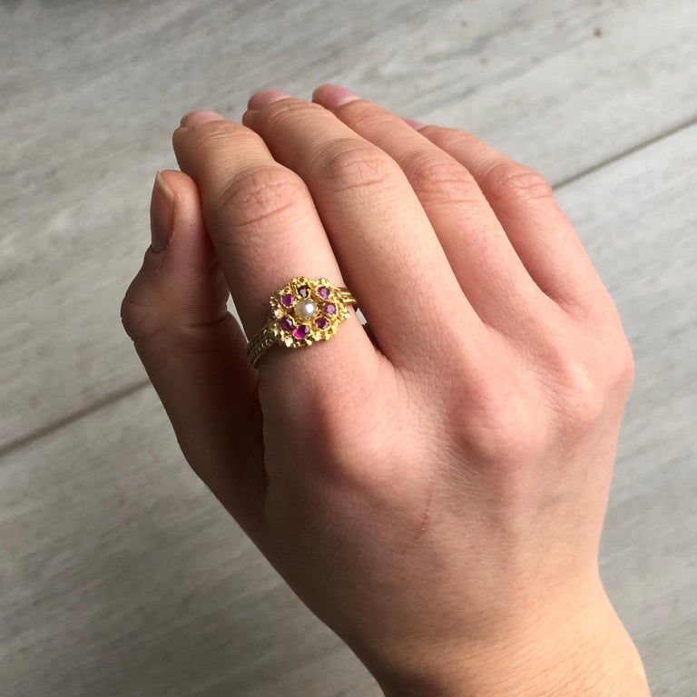 Women's Georgian Ruby, Pearl and 15 Carat Gold Cluster Ring