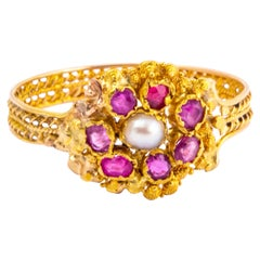 Georgian Ruby, Pearl and 15 Carat Gold Cluster Ring