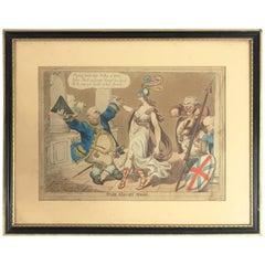 Georgian Satirical Print Entitled 'the Honey Moon' by W Holland, London