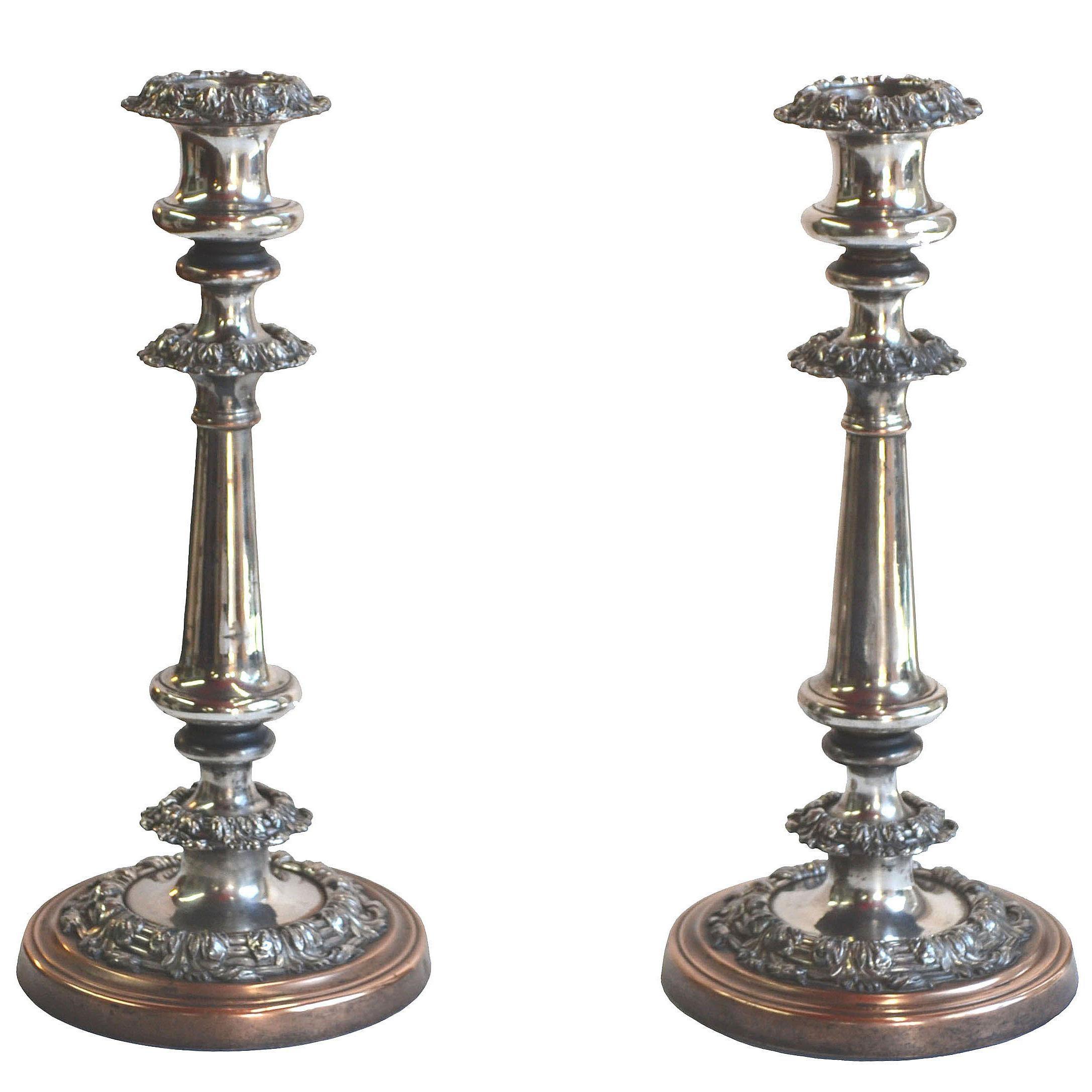 Georgian, Sheffield Plate Candlesticks, Pair