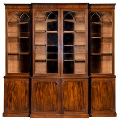 Georgian Sheraton Mahogany Breakfront Bookcase