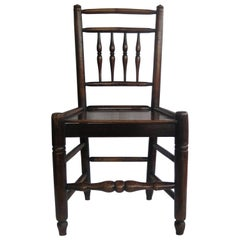 Georgian Side Chair Country Spindle Back Elm and Ash, English, circa 1800