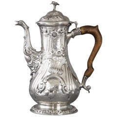 Georgian Silver Coffee Pot, London, 1760 by Herne & Butty
