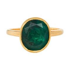Georgian Single-Stone Emerald and Gold Ring