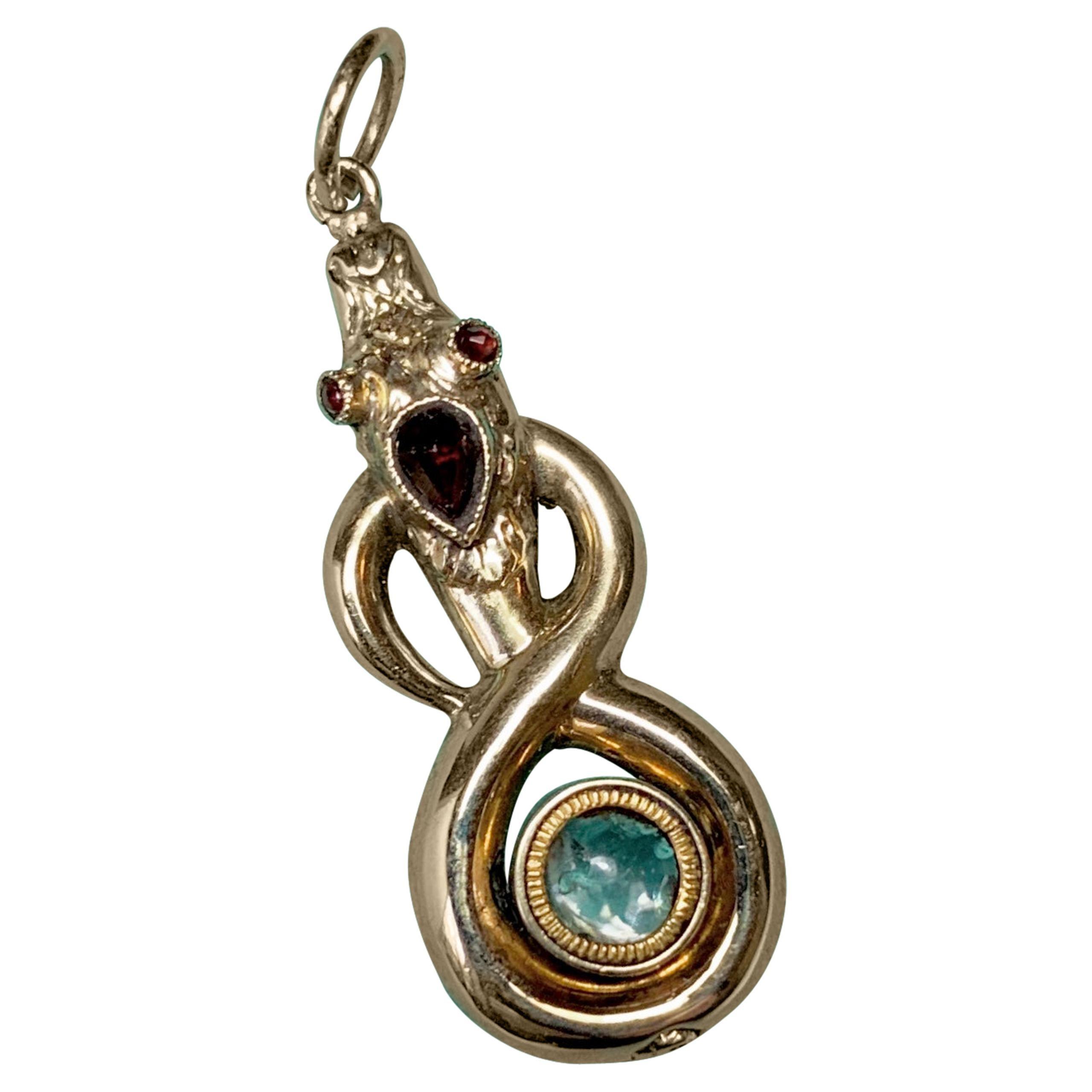 Georgian Snake Poison Locket Pendant Mourning Garnet Antique Gold 1800 Rare