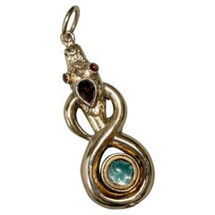 Georgian Snake Poison Locket Pendant Mourning Garnet Antique Gold 1800 Rare