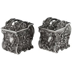 Georgian Solid Silver Chinoiserie Tea Caddies, J & J Angell, circa 1834