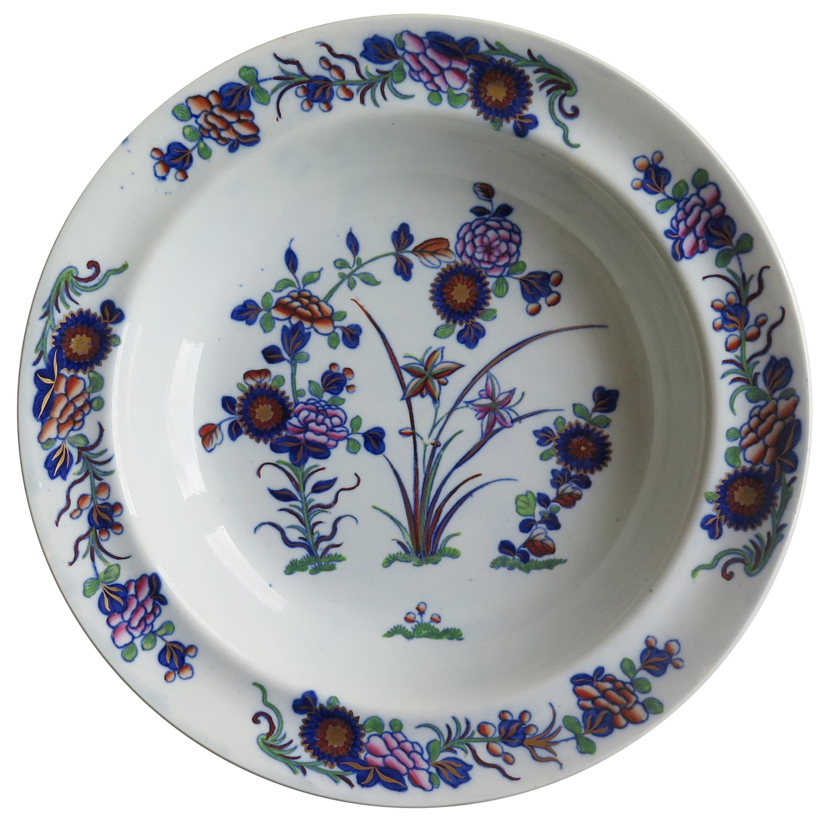 Georgian Spode Soup Bowl or Plate in Chinese Flowers Pattern, circa 1820