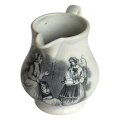 Georgian Staffordshire Pearlware Cream Jug Bat Printed Family Scene, circa 1815