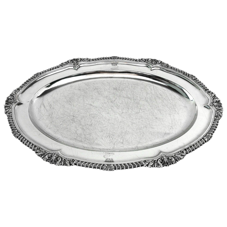 Georgian Sterling Silver Antique Meat Dish / Serving Platter 1823 George IV