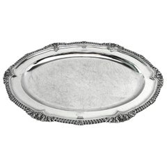 Georgian Sterling Silver Antique Meat Dish / Serving Platter 1823 George IV