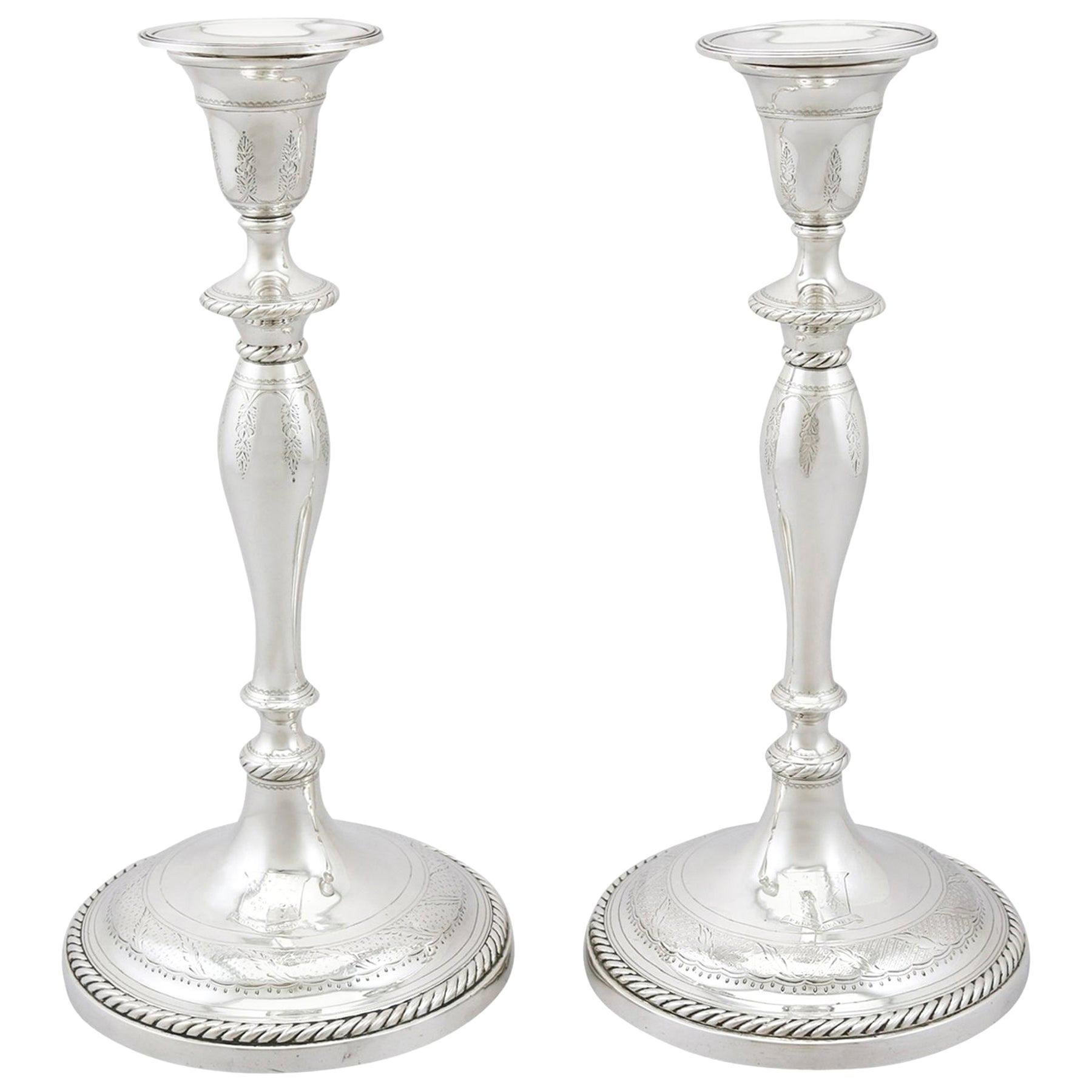 Georgian Sterling Silver Candlesticks, 1796