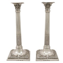 Georgian Sterling Silver Corinthian Column Candlesticks