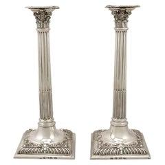 Georgian Sterling Silver Corinthian Column Candlesticks
