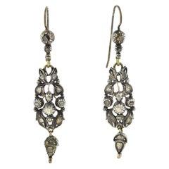 Georgian Sterling Silver Rose Cut Diamond Earrings 0.50ctw