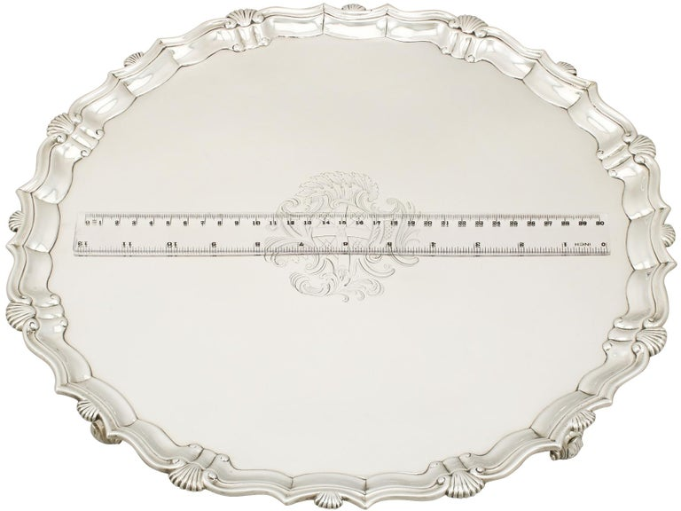Georgian Sterling Silver Salver by John Tuite For Sale 3