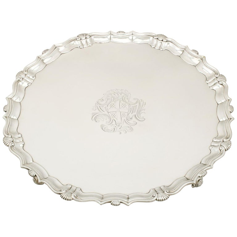 Georgian Sterling Silver Salver by John Tuite For Sale