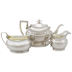 Georgian Sterling Silver Three Piece Tea Service with Matching Tea Pot Stand