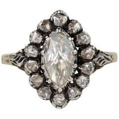 Georgian Style 1.80 Carat Rose Cut Diamond Rare Cluster Ring