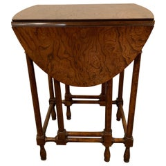 Georgian Style Baker Furniture Company Gate Leg Diminutive End Table, Burl Wood