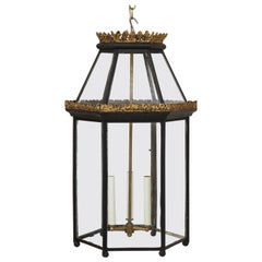 Georgian Style Black and Gilt Metal and Glass Hall Lantern
