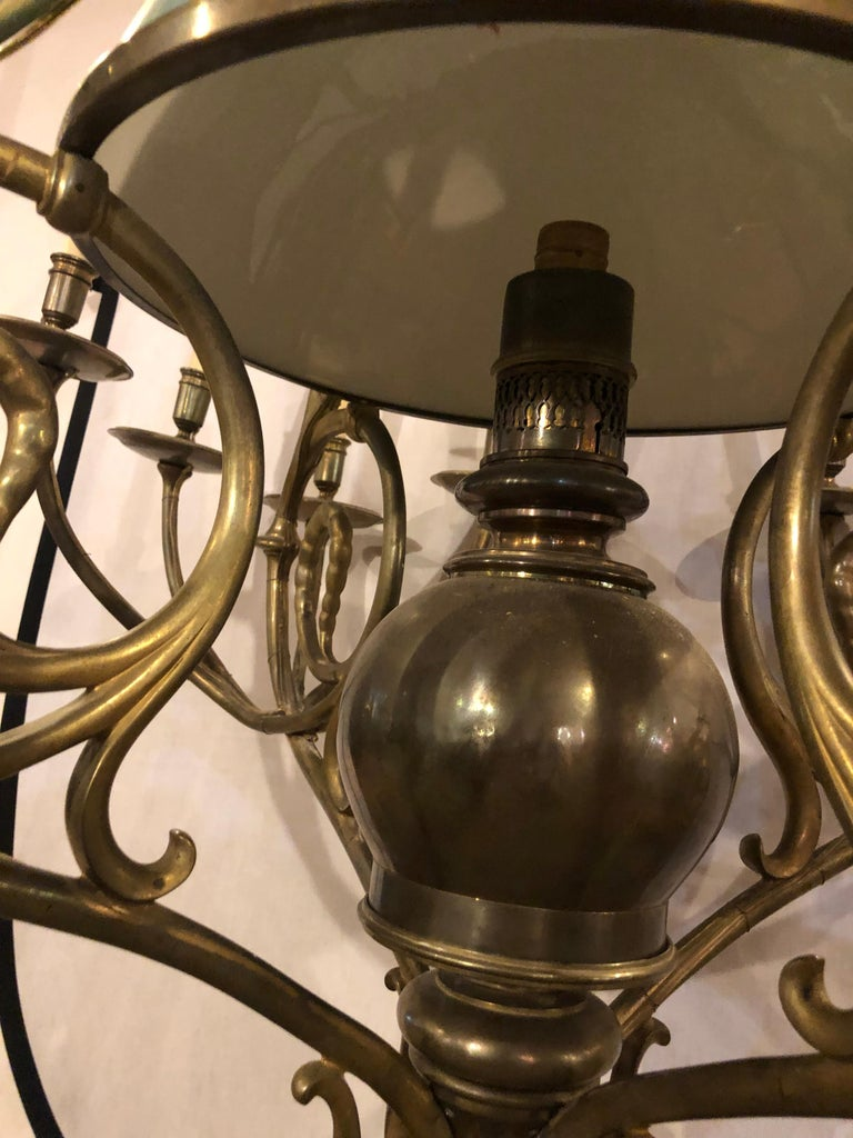 Georgian Style Chandelier with a Globe Centre Matching Chain and Canopy For Sale 8