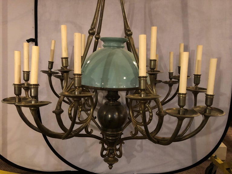 French Georgian Style Chandelier with a Globe Centre Matching Chain and Canopy For Sale