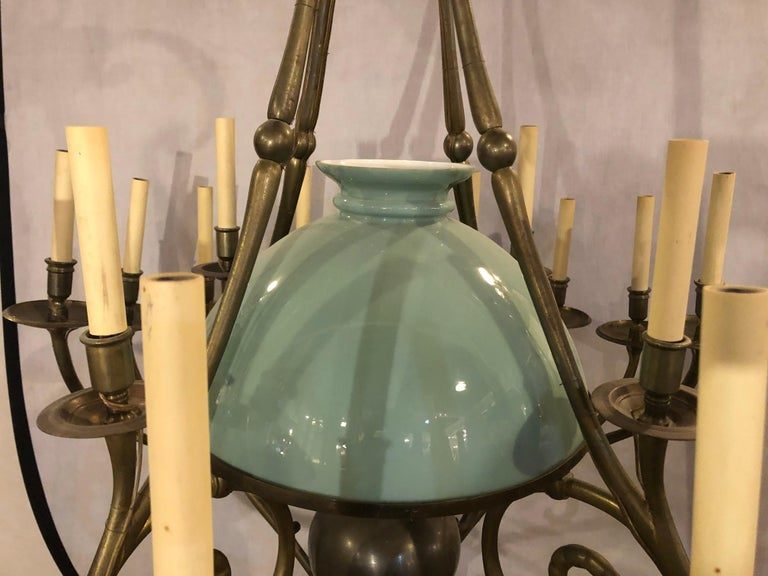 Georgian Style Chandelier with a Globe Centre Matching Chain and Canopy In Good Condition For Sale In Stamford, CT