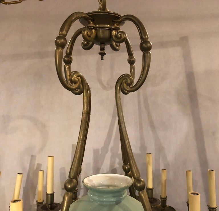 Early 20th Century Georgian Style Chandelier with a Globe Centre Matching Chain and Canopy For Sale