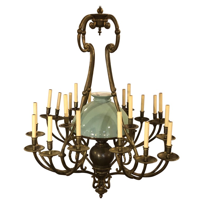 Georgian Style Chandelier with a Globe Centre Matching Chain and Canopy For Sale