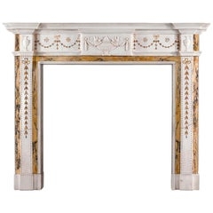 Georgian Style Chimneypiece in Statuary, Sienna and Brocatelle Marble