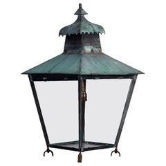 Georgian Style Copper Lantern Paneled in Glass