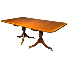 Georgian Style Double Pedestal Dining Room Table, Crotch Mahogany and Satinwood