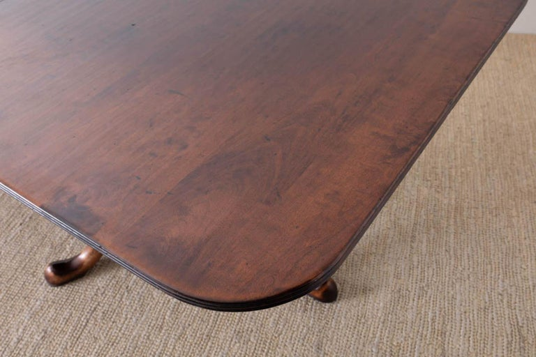 Georgian Style Double Pedestal Walnut Dining Table For Sale 3