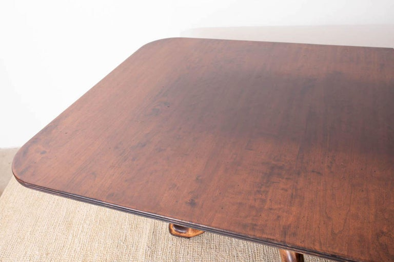 Georgian Style Double Pedestal Walnut Dining Table For Sale 4